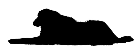 Great Pyrenees purebred dog lying in side view - vector silhouette isolated Ilustrace