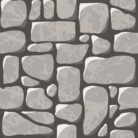 Seamless pattern. Cobblestone pavement or a stone wall. Vector illustration Çizim