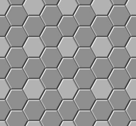 Lastre per pavimentazione esagonali grigie. Modello senza soluzione di continuità. Illustrazione vettoriale Vettoriali