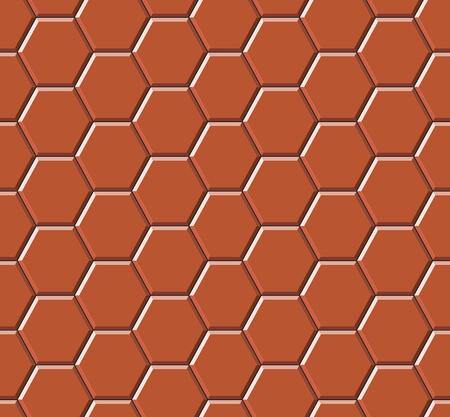 Gray hexagonal paving slabs. Seamless pattern. Vector illustration Çizim