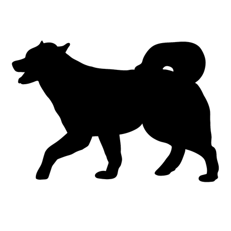 Silhouette of a dog of breed Alaskan Malamute Illustration