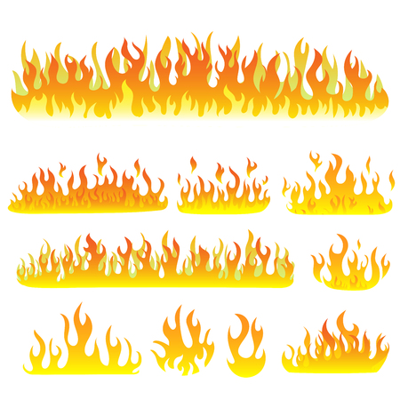 Image of a flame on a white background. Vector illustration