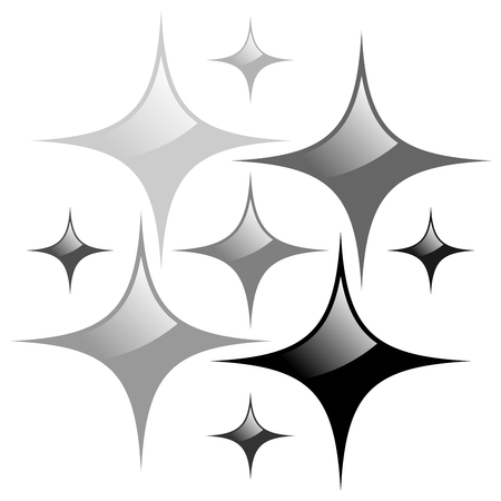 Shining stars on white background, sign of purity and gloss. Vector illustration