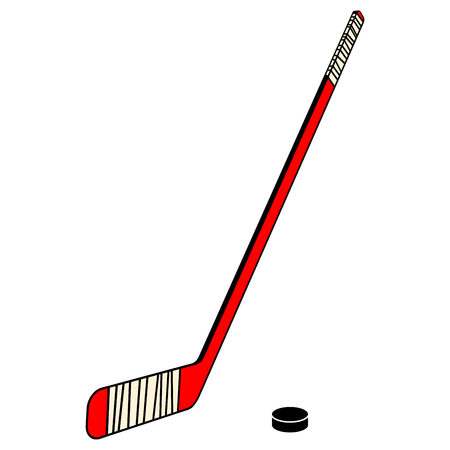 Hockey stick and puck on a white background. Vector illustration