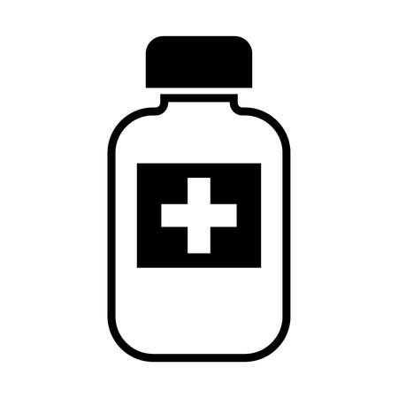 A bottle of medicine on a white background.