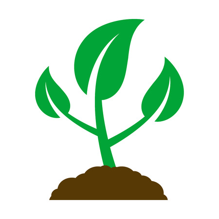 Icon of a young plant. Vector Illustration.
