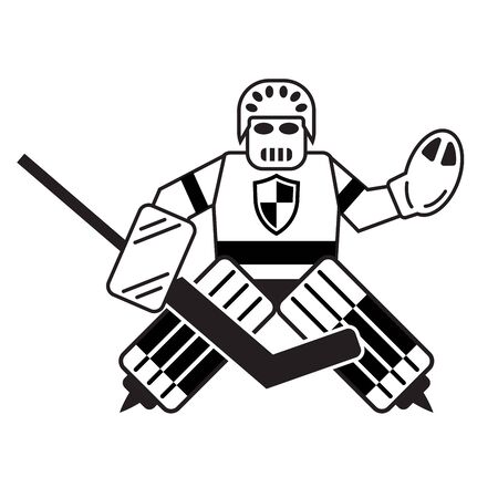 Hockey goalkeeper isolated on a white background. Vector illustration Ilustração