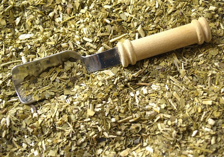 mate drink: Dry yerba mate leaves, traditional drink of Argentina.