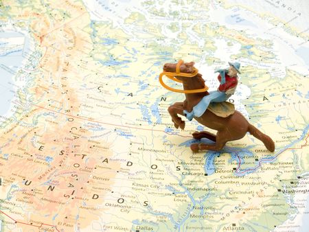 cowboy toys on map photo