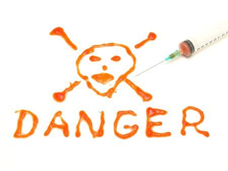 Syringe with blood