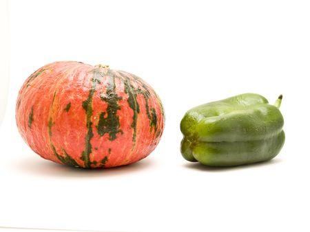 pumpkin and green pepper photo