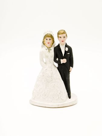 wedding suit: wedding cake figurines Stock Photo