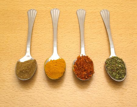 spoon with different spices   photo