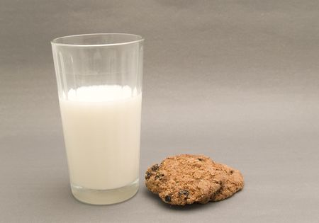 glass of milk and biscuits photo