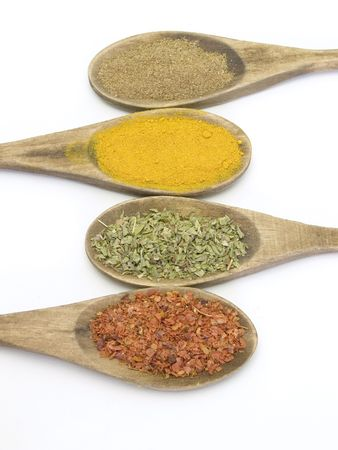 spices in wood spoons photo