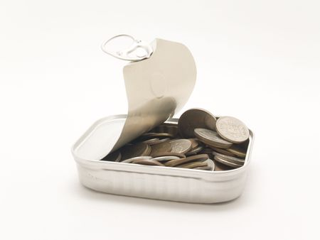 sardine can with coins photo