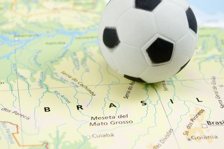 soccer ball on map photo
