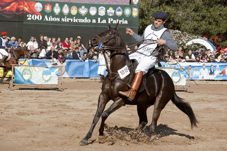 Argentina, Buenos Aires, July 27, 2010: One of the riders showed their skills in horse race classification in the Argentine Polo 124th exhibition of livestock rural Argentina in the track of the Sociedad Rural Argentina.