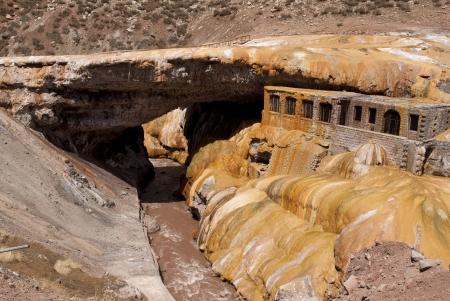 mud and snow: Bridge of the Inca, Mendoza, Argentina  Stock Photo