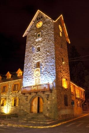 Night view of the civic center of San Carlos de Bariloche, Argentina