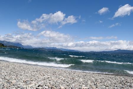 nahuel huapi: Shore of the lake, Nahuel Huapi, Bariloche, Argentina Stock Photo