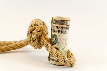 dollars with rope Stock Photo