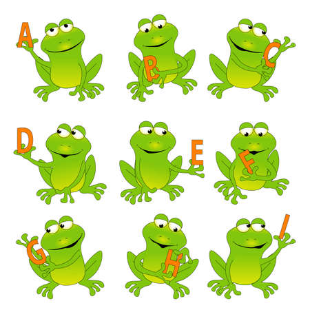 frogs: Frogs Holding the Alphabet A-I Illustration