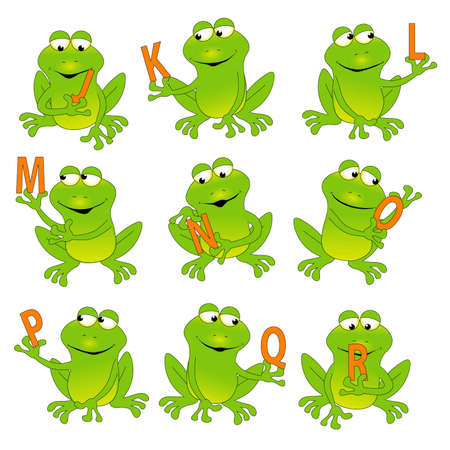Frogs Holding the Alphabet J-R