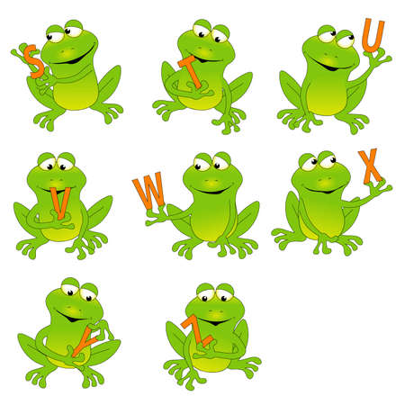Frogs Holding the Alphabet S-Z