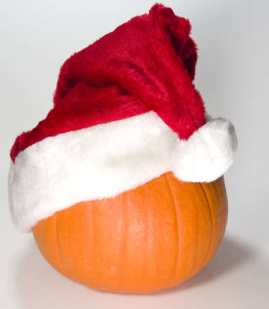 Santa Pumpkin with tilted hat  Stock Photo