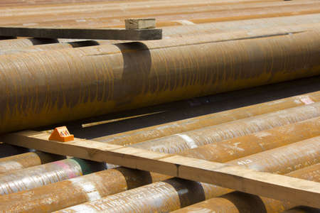 Shale: Pipes for natural gas drilling marcellus shale formation Stock Photo