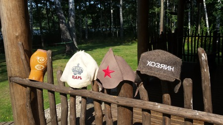 Sauna hats on the fence