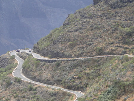 View of mountain road in Tenerife Imagens