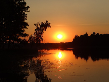 Sunshine over a lake in the background of the forest. Summer sunrise in Lithuania. 版權商用圖片