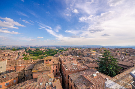 View from the top of the cathedral of Siena, blue sky and cloud