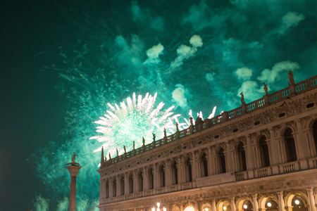 redeeming: Piazza San Marco Venice, the redeeming party, view of the fireworks in the night