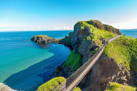 in Noord-Ierland touwbrug, Carrick-a-Rede Stockfoto