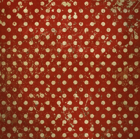 painted the cover illustration: Vintage red polka dots background, grunge metal texture