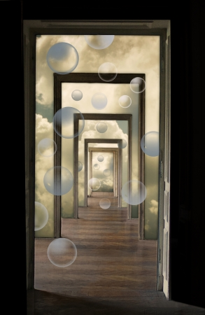 Within a Dream, metaphorical illustration  Linear perspective view through several open doors and empty rooms