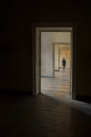Silhouette in a corridor in front of a closed door  Rite of passage concept  Linear perspective view through several open doors and empty rooms  photo