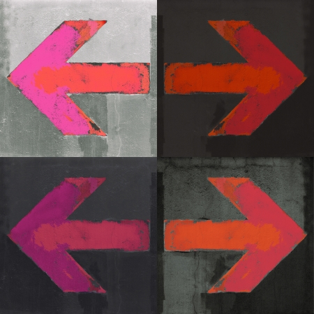 city line: Artistic grunge design red arrows set, four arrow signs painted on a concrete wall