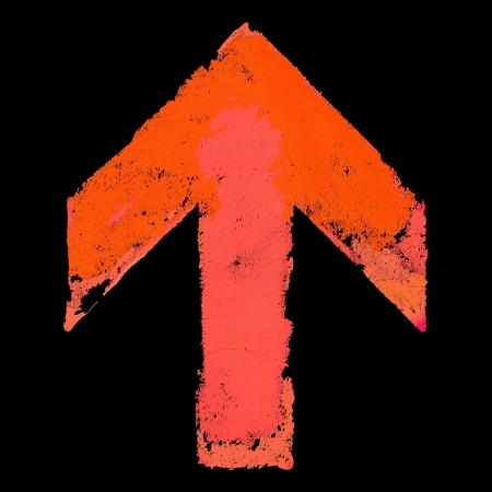 handmade abstract: Artistic grunge design up arrow sign isolated on black Stock Photo