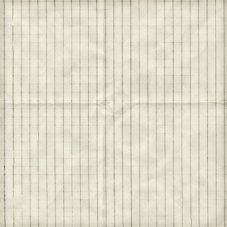 grid paper: Checkered folded paper background texture Stock Photo