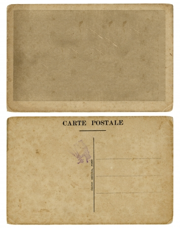 french text: Vintage blank French postcard, both sides  Isolated with clipping path  framework for your content    Stock Photo