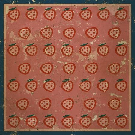 Vintage background with strawberries, grunge texture photo