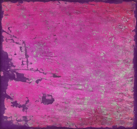 Abstract artistic painted grunge background, pink with silver brush strokes and purple painted frame  photo