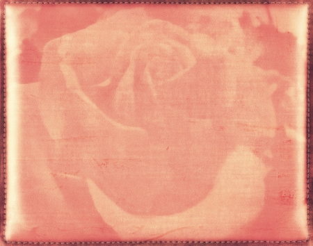 Vintage grunge floral background with rose flower  Leather texture with stitched frame  Framework design for your content