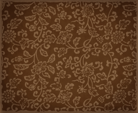 Vintage brown floral background, flowers ornament on leather texture Archivio Fotografico