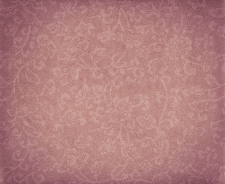Vintage pink floral background, flowers ornament on leather texture