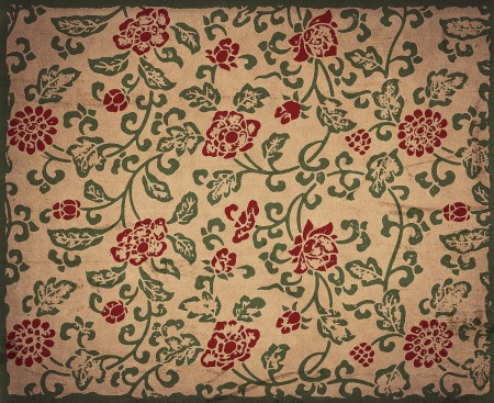 Vintage floral background, flowers ornament on grunge leather texture
